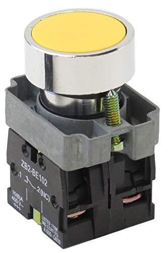 (YC-XB4BA51 22mm Flush Push Button Momentary Switch Action 1 N.O. 1 N.C. Contact Blocks replacement for XB4BA51 (Yellow))