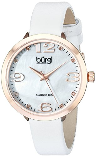 Burgi Women's BUR119WTR Diamond Accented Mother-of-Pearl Rose Gold & White Leather Strap Watch