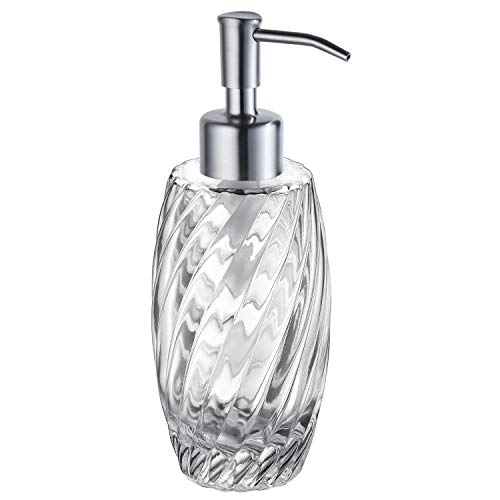(SUCASA Liquid Soap Dispenser Brushed Nickel Stainless Steel Pump Head Designed 10 Ounce Glass Jar for Bathroom Countertop Hand Soap Shampoo Shower Gel Dispense Not)