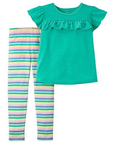Carter's Baby Girls' 2-Piece Flutter Top & Striped Legging Set (Turquoise/Stripe, 6 Months)