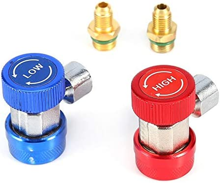 Air Condition Quick Coupler 2 Pack 1/4 Adjustable R134A AC Manifold Gauge Conversion Kitfor AC Air Adapter Fitting 1/4 Inch Air Condition Coupler