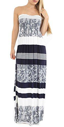 Printed Maxi Tube Dress (Rimi Hanger Ladies Printed Strapless Sheering Boob Tube Bandeau Long Maxi Dress Abstract Navy Medium)
