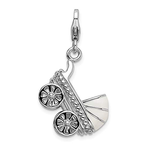 (925 Sterling Silver Rhodium-plated 3-D Enameled Baby Carriage with Lobster Clasp Charm )