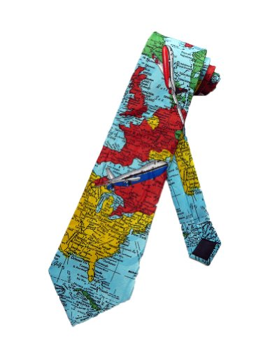 Steven Harris Travel Map Airplane Pilot Necktie - Light Blue - One Size Neck Tie
