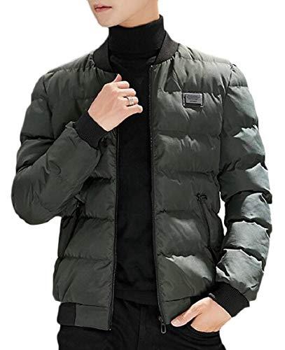 Down Jackets Green Zipper Army Stand security Collar Coat Pocket Men's Outwear Winter nSqwp6U