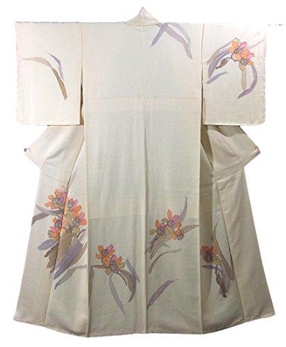 リサイクル 着物 訪問着 蘭の花模様 正絹 袷 裄62cm 身丈154cm