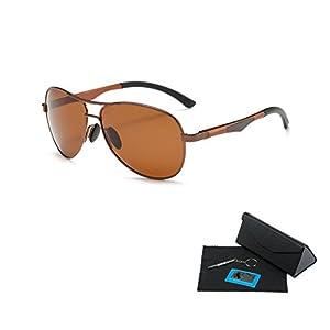 Shushu Jacob Men's Polarized Sunglasses UV400 Protection Vintage Aviator Brown Lens Brown Frame