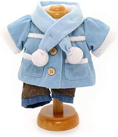 マザーガーデン Mother garden うさももドール 着せ替え人形用服 《ムートンコート セット マフラー付き ブルー 青》 Mサイズ用 お人形遊び きせかえ ドール 着せ替え服