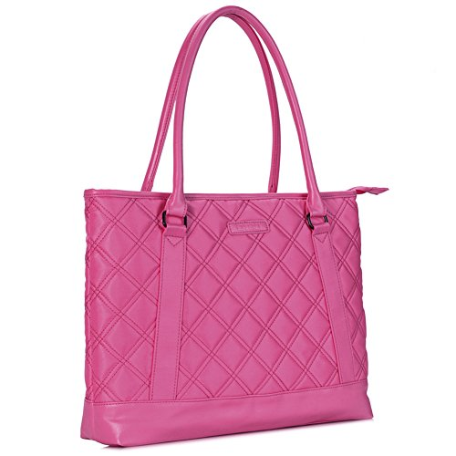 Laptop Tote Bag, DTBG 15.6 Inch Nylon Classic Diamond Pattern Travel Business Computer Shoulder Bag Carrying Briefcase Handbag For 15 - 15.6 Inch Laptop / Notebook / MacBook / Ultrabook /Tablet,Pink (Tote Classic Pink)
