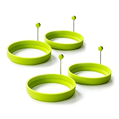 Magic Cuisine 4-Pack Vibrant Green / Neon Green Silicone Egg Ring - Egg Mold - Silicone Pancake Mold