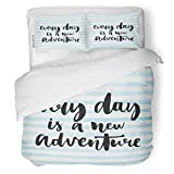 SanChic Duvet Cover Set Every Day is New Adventure Inspirational Quote About Decorative Bedding Set with Pillow Sham Twin Size