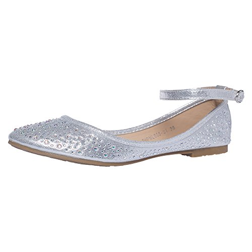SheSole Women's Ballet Flat Wedding Shoes Silver US 9.5