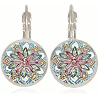 Jaywine2 1 pair Mandala silver Trendy Glass cabochon 18 MM Lever Back Earrings