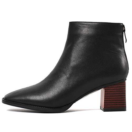 MAYPIE Blocco Donna Nero Cerniera Toabout Stivali Tacco a Leather pYrpq
