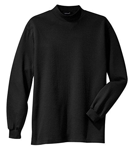 Cotton Mock Turtleneck Sweater (Mafoose Men's Interlock Knit Mock Turtleneck Sweaters Black L)