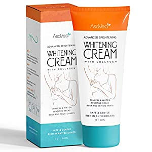 Whitening Cream for Armpits, Intimate Parts, Between Legs – with Collagen – Effective Lightening Cream – Brightens, Nourishes, Moisturizes Underarm, Neck, Knees, Elbows by AsaVea