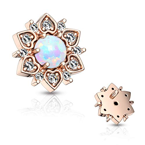 CZ Flower with Opal Center Internally Threaded 14GA Dermal Anchor Top (Rose Gold/Opal White)
