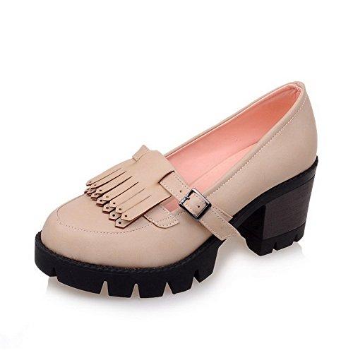 Allhqfashion Womens-tacchi Pu Fibbia Solida Rotonda Punta Chiusa Pompe-scarpe Albicocca