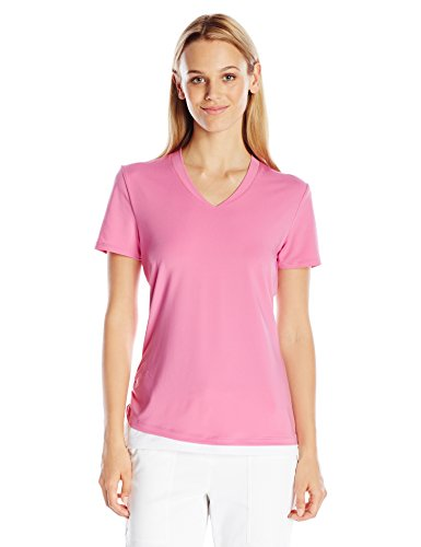 PGA TOUR Women's Short Sleeve Airflux Solid Top with Side Ruching, Super Pink, (Range Wear Knit Skort)