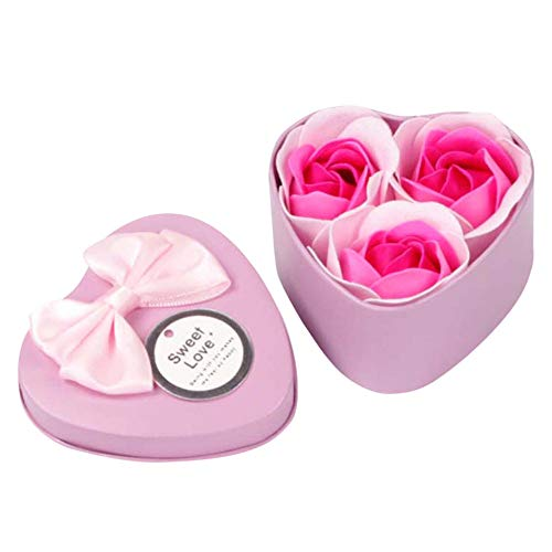 VEFSU 3Pcs Heart Scented Bath Body Petal Rose Flower Soap Gala Wedding Decoration Gift Best (Pink)