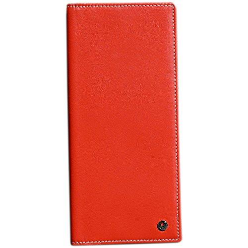 Pacer Go RFID Blocking Slim Minimalist Long Travel Wallet Genuine Leather Passport Holder Travel Cover with Passport Holder Slot, Cash Slot, Card Slot, Boarding Pass (Red)