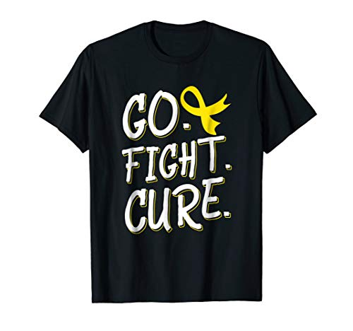 Go Fight Cure Childhood Cancer Gold Ribbon Awareness T-shirt