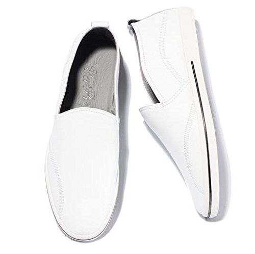 HAPPYSHOP(TM) Men's Casual Leather Ventilated Light Moccasin Slip-on Penny Loafers Driving Shoe White sneakernews cheap price huge surprise cheap price official sale online sale pick a best vlGMDnn