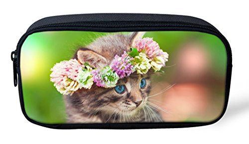 Lovely Puppy Kitty Print Pencil Bags Floral Pen Case Canvas Soft Kids Classroom Stationery Pouch PH-CA4902K
