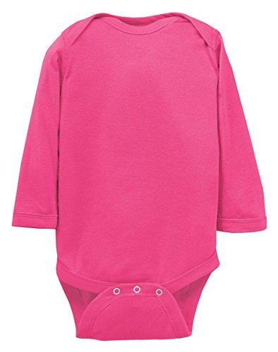 Rabbit Skins Little Girl's Rib Lap-Shoulder Bodysuit, Hot Pink, 18 Months