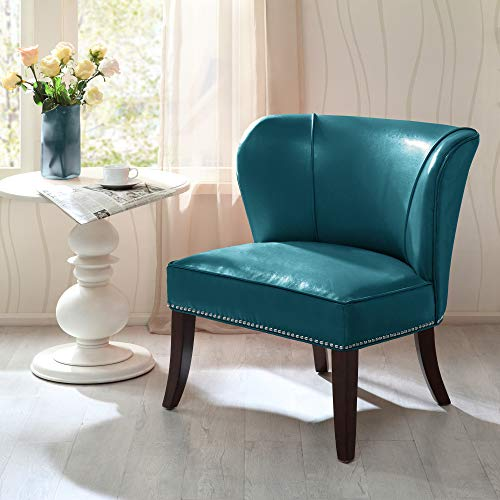 Madison Park FPF18-0167 Hilton Accent Chairs - Hardwood, Plywood, Wing Back, Deep Seat Bedroom Lounge Modern Classic Style Living Room Sofa Furniture, Blue