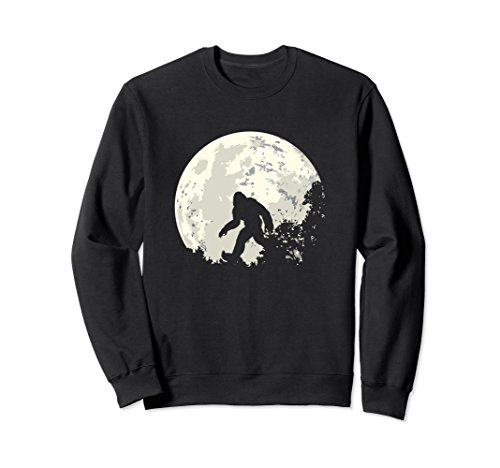 Unisex Bigfoot Moon Sasquatch Sweatshirt - I Believe in Bigfoot XL: Black Believe Sweatshirt