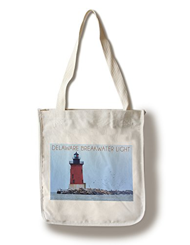 Lantern Press Lewes, Delaware - Cape Henlopen Lighthouse Day (100% Cotton Tote Bag - Reusable)