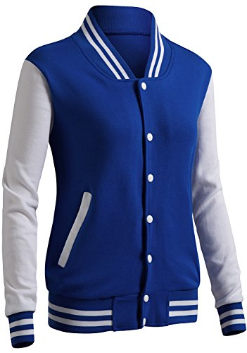 CLOVERY Women's Varsity Letterman Long Sleeve Jacket Cobalt M