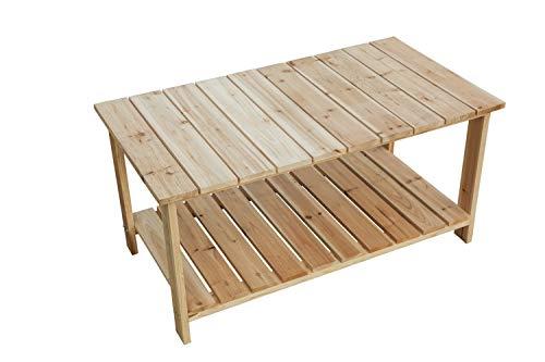 LOKATSE HOME Outdoor Coffee Table Natural Wood Patio Furniture with 2-Shelf Storage Organizer