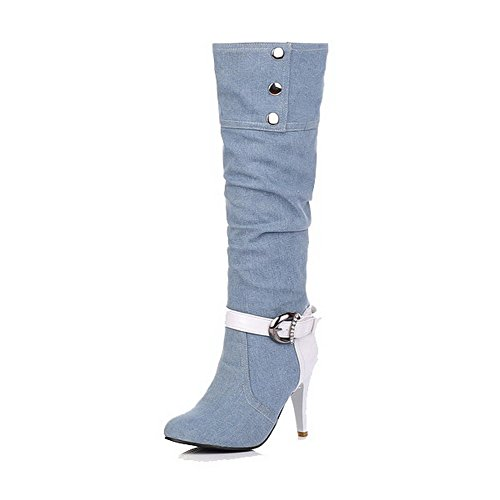 Assorted Allhqfashion Color Heels Boots Material High Top Lightblue Soft Women's Pull High On FHHx6nq40
