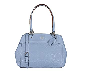 COACH BROOKE CARRYALL IN SIGNATURE LEATHER, SILVER/POOL