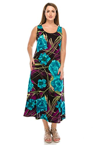 Jostar Women's Stretchy Long Tank Dress Print Medium Turquoise Geometry