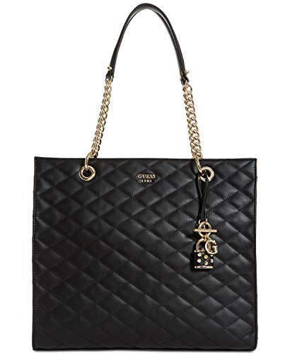 GUESS Penelope Quilted Shopper Tote (Link Chain Black Leather Bag Shoulder)