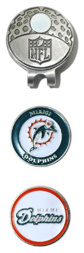 (Team Golf NFL Miami Dolphins Golf Cap Clip with 2 Removable Double-Sided Enamel Magnetic Ball Markers, Attaches Easily to Hats)