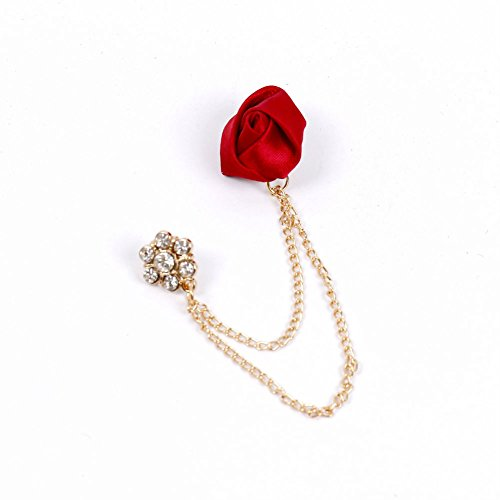 (AKOAK Cute Charm Red Ribbon Rose Rhinestone Flower Gold Plated Alloy Chain Cravat Pin Brooch Collar Clip Jacket)