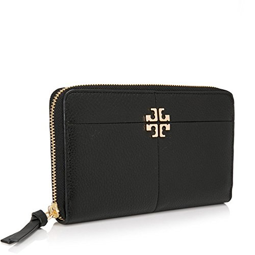 Tory Burch Wallet Ivy Zip Logo TB Continental (Black) by Tory Burch