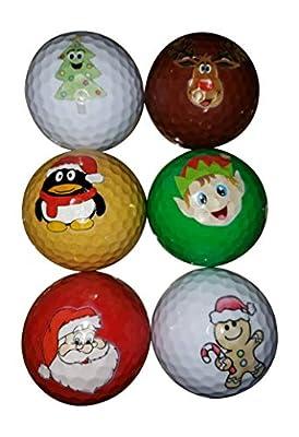 BZANY Christmas Holiday Fun Golf Balls (6 Pack)