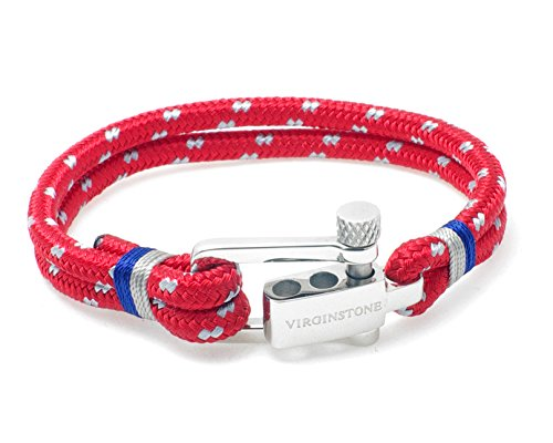 - VIRGINSTONE Stainless Steel U-lock Nylon Cord Bracelets (Red, S)