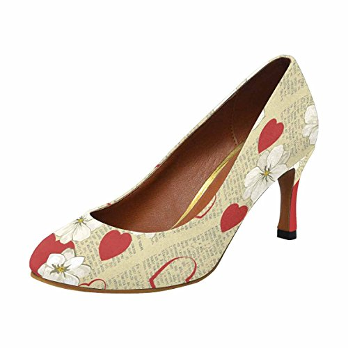 InterestPrint Womens Classic Fashion High Heel Dress Pump Celebratory Spring Background With Newspaper, Flowers and Hearts