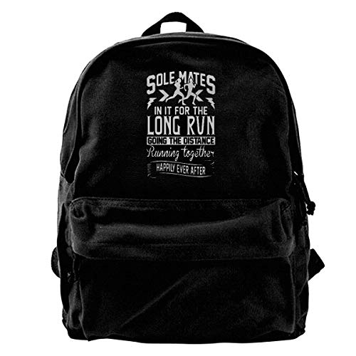 (Classic Canvas Backpack Sole Mate in It for Long Distance Unique Print Style,Fits 14 Inch Laptop,Durable,Black)