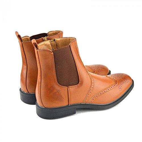 Formale sul Caviglia Stile Stivali Tan alla Tassello Chelsea Rivenditore Uomo Nero Zip Marrone Tfnqxxv