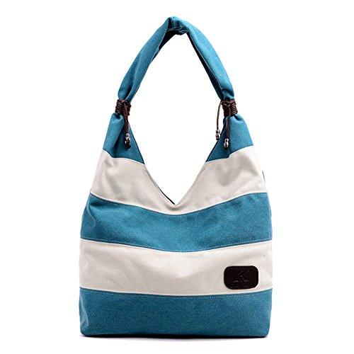 FTSUCQ Womens Canvas Shoulder Handbags Blue Casual Tote Hobos