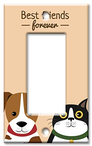 Art Plates Brand Single Gang Rocker (Decora) Switch/Wall Plate - Best Friends Forever - Cat & Dog