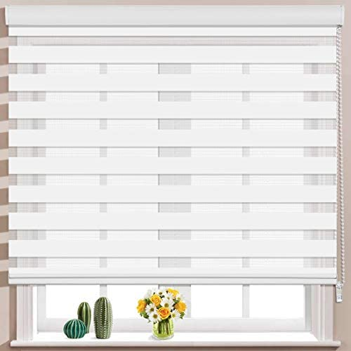 Keego Window Blinds Custom Cut to Size, White Zebra Blinds with Dual Layer Roller Shades, Size W 97 x H 72 Dual Layer Sheer or Privacy Light Control for Day and Night