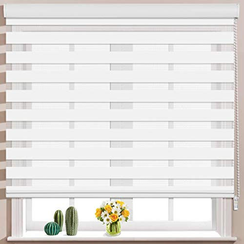 Keego Window Blinds Custom Cut to Size, White Zebra Blinds with Dual Layer Roller Shades, [Size W 39 x H 68] Dual Layer Sheer or Privacy Light Control for Day and Night